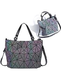 1b6c183acc6 Marber Bolso de hombro de las mujeres Luminoso geométrico Nightglowing Moda  Bolso de mano colorido Rhombic