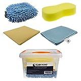 CARVANIO Auto-Reinigungsset, 5-teilig (Box inkl. Schwamm, Chenille Wasch-Handschuh, Mikrofasertuch, PU-Tuch) | Pflege-Set für Auto und Motorrad | Autowäsche