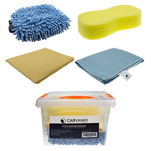 CARVANIO - Juego de limpieza para el automóvil, 5piezas (La caja incluye una esponja, un guante de lavado de chenilla, paño de microfibra, toalla de poliuretano) | Juego de cuidado para el coche y la moto | Lavado de automóvil