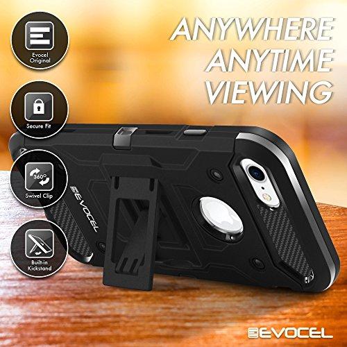 iPhone 7 Case, Evocel [Trio Pro Series] Premium Hybrid Tri-Layer Protector Case [Kickstand][Belt Swivel Clip] For iPhone 7 (4.7 inch), Gold Medal (EVO-IPH7-HH15) Black