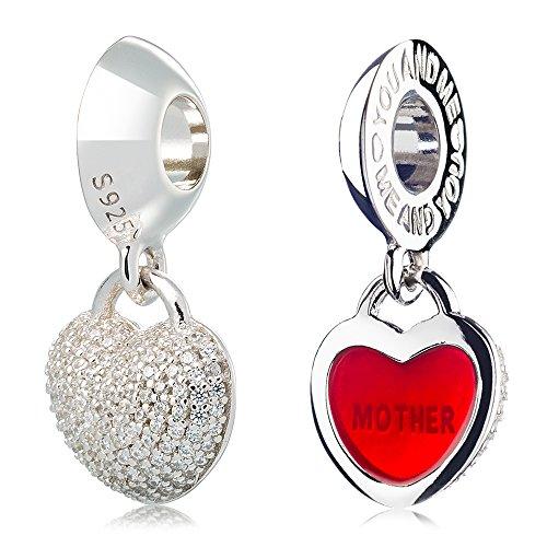 ATHENAIE 925 platino placcato in argento con pavimenta CZ Blocco Cuore Amore ciondolo madre misura tutti i braccialetti europei