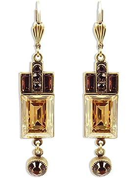 Artdeco Ohrringe mit Kristallen von Swarovski® Gold Braun - NOBEL SCHMUCK