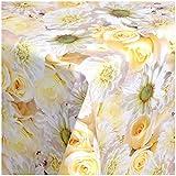 TEXMAXX Wachstuchtischdecke Wachstischdecke Wachstuch Tischdecke abwaschbar (148-00) - 100 x 140 cm - PVC Tischdecke abwischbar, Blumen Rosen Muster Weiss-Gelb-Creme