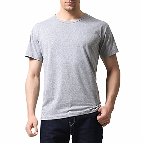 QIYUN.Z Männer Unisex Normallack T-Shirt Kurzarm Baumwolle Sommerhemden Team Bluse Grau