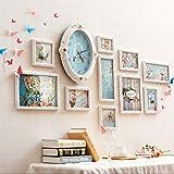 JH Fotorahmen Kollage Groß Foto-Wand-Hölzernes Foto-Wand-europäisches Wohnzimmer-Restaurant-Foto-Rahmen-Wand Einfache Kreative Kreative Foto-Rahmen-Wand Stummschalten der Uhr (Design : B)
