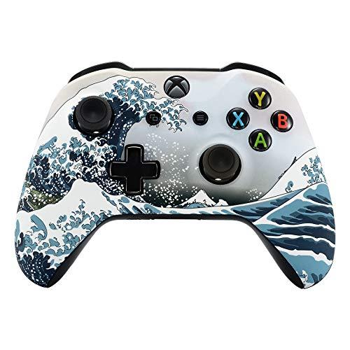 eXtremeRate Hülle für Xbox One X/S Controller,Gehäuse Zubehör Ersatzteile Case Faceplate für Xbox One S/Xbox One X Controller(Brandung)