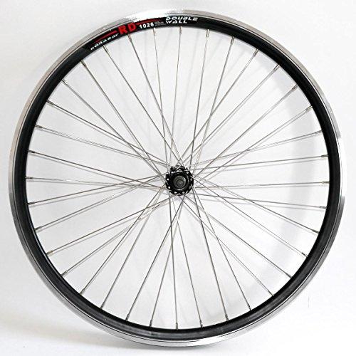 """Rolektro 26 Zoll Vorderrad-Felge Laufrad 26"""" Aluminium Hohlkammer-Felge Schwarz-Silber Alu Fahrrad-Felge f. Tourenrad Cityrad"""