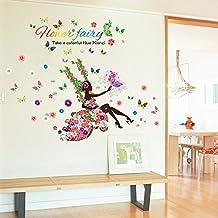 Zooarts Swing–Adhesivo de Pared, diseño de hadas y flores de mariposas vinilo adhesivos decor Mural de Habitación