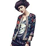 FEITONG Las mujeres floral delgado Parka outwear la chaqueta del foso Escudo