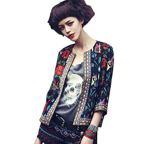 FEITONG Las mujeres floral delgado Parka outwear la chaqueta del foso Escudo (L, Negro)
