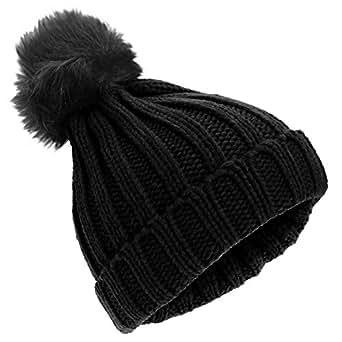 bd291fe3893 Universal Textiles Childrens Girls Rockjock Cable Knit Faux Fur Pom Pom  Winter Beanie Hat (One