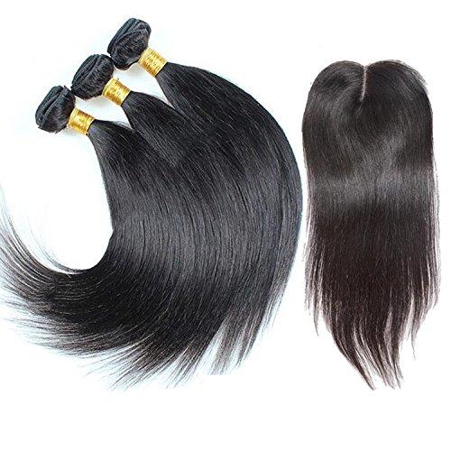 ohlees® 7A Virgin Human Hair Femmes de l'Inde véritable droit extensions de cheveux brésiliens vierges 100% humains Remy Tissage naturel Premium 3 Bundle trame + 1 pcs Lace Closure de dentelle fermeture frontal 4*4