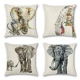 Artscope Lot de 4 Housse de Coussin 45 x 45 cm Coton et Lin Décoratif Taie d'oreiller de Voiture Canapé Maison Décor Housses de Coussin (L'éléphant)