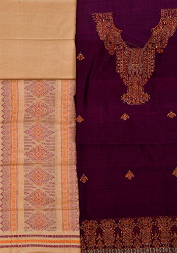 Exotic India Bomkai Salwar Kameez Fabric from Orissa with Woven Paisleys -...
