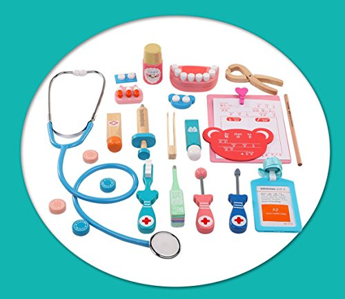 YCbingo Childrens Wooden Doctor Toy Set, Doctor Nurse Dress Up Role Play Fun Toy Gift For Kids 21 PCS