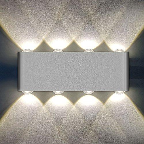 8W LED Wandleuchte, LOFTer innen UP und Down Wandlampen Modern Wasserdichte Wandbeleuchtung aus Aluminiumlegierung ideal für Wohnzimmer Schlafzimmer Warmweiß.