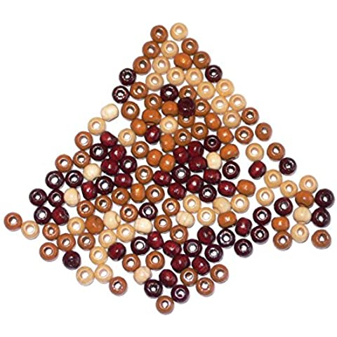 perline di legno per fai da te - resistenti alla saliva - mix Brown - 4mm ca155 pezzo