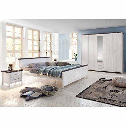 Pharao24 Landhaus Schlafzimmer in Weiß lasiert Braun Kiefer Massivholz - Malibu-set Bett