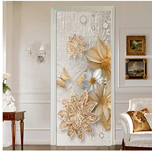 Estilo europeo Flores de Lujo Joyería de Oro Etiqueta de La Puerta de la Mariposa Dormitorio Sala de estar Papel Pintado Calcomanías de PVC 3D Murals77x200cm