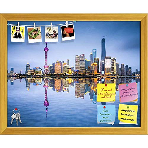Artzfolio Shanghai City Skyline Of Pudong District, China D2 Printed Bulletin Board Notice Pin Board | Golden Frame 19.8 X 16Inch