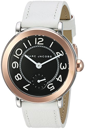 Marc Jacobs Riley Damen-Armbanduhr 37mm Armband Leder Weiß Batterie MJ1515 (Marc Jacobs Black Watch)