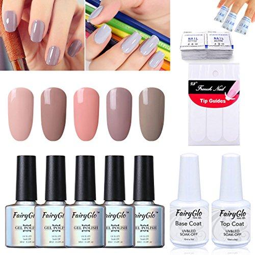 fairyglo-5-color-combo-nude-gel-nagellack-boden-top-50-pcs-entferner-wrap-5-x-french-aufkleber-uv-le
