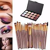 Kolylong® Kolylong 1 Set Make-up-Tools 15 Farben Make-up Concealer Palette Plus Bürsten 20pcs Make-up