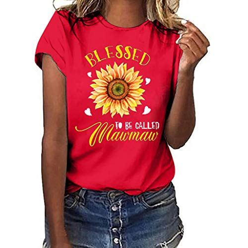 Epig Frauen Plus Size Kurzarm T-Shirt Sun Flower Print Lose Bluse Top -