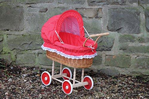 Burkhardt Korbwaren Puppenwagen aus Weide mit Rot mit Punkten und Holzgriff...extra stabil...