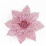 happy event Unechte Blumen | 10Pcs / Set Weihnachtsblumen | Bäume Weihnachtsdekor Glitter Mi Geburtstagsparty 15cm (Pink)