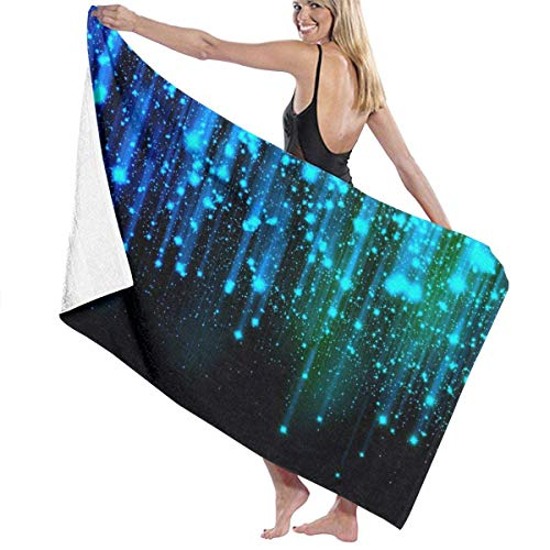 fgregtrg Beach Towels Decor Black and Blue Neon Lights Bath Towels Machine Washable Soft, High Absorbent, Eco-Friendly Printed Bath Towel,Quick Dry 31.5\