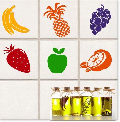 12 Küchen Früchte Aufkleber je. ca. 10 cm Banane/Erdberre/Ananas/Orange/Weintraube/Apfel