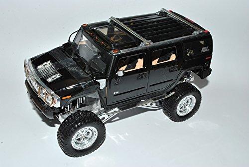 Jada Hummer H2 SUV Schwarz Höher Gelegt 1/24 Modell Auto mit individiuellem Wunschkennzeichen