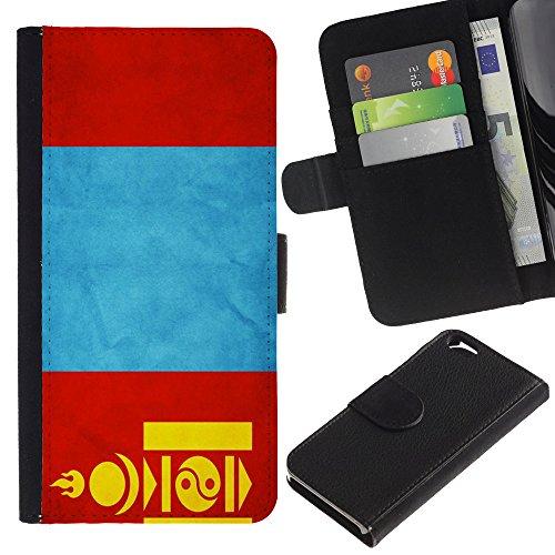 Graphic4You Vintage Uralt Flagge Von Philippinen Philippinische Design Brieftasche Leder Hülle Case Schutzhülle für Apple iPhone 6 / 6S Mongolei Mongolisch