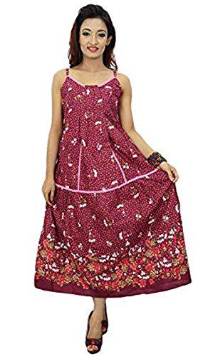 Frauen Sundress Blumendruck Baumwollbeiläufiges Sommer Strand Kleid kastanienbraun-1