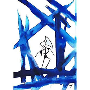Olivier Cornil – The sentinel of the blue forest – Tuschezeichnung – 17 x 24 cm