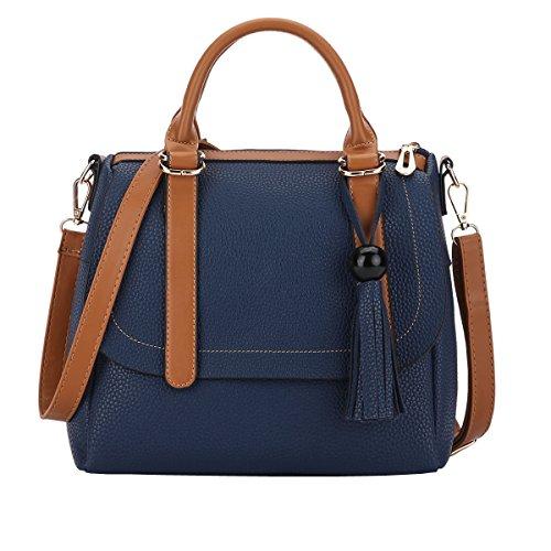 DISSA ES895 neuer Stil PU Leder Deman 2018 Mode Schultertaschen handtaschen,260×120×220(mm) Blau
