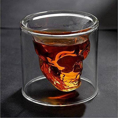 Schnapsglas mit Totenkopf-Motiv, 75 ml, Kristallglas, doppelschichtig, transparent, Totenkopf, Pirat, für Cocktail, Bier, Trinkbecher, Trinkbecher, dicke Unterseite, kreative Halloween-Tasse (Cocktails Wodka Halloween)