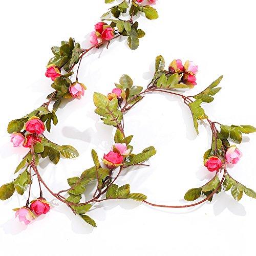 (Malayas 1 Stück Blumengirlande Künstliche Rose Vine 220cm Fake Rose Girlande Reben Hängende Seide Blumen für Office Home Hochzeit Garten Dekoration - Rosa)