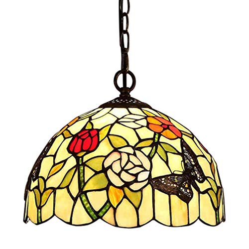 E27 Tiffany Pendelleuchte Deko Leuchte Vintage Glas Hängelampe Höheverstellbar Esstisch Esszimmer Küchenlampen Lampen Retro Pendellampe Wohnzimmerlampe Hängeleuchte Schlafzimmer Keller Loft Cafe Bar