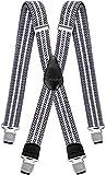 Hosenträger für Herren breit extra starken 4 cm mit 4er Clips X-Form lange für Männer und Damen Hose alle Farben (Silber Weiß)