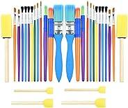30PCS Colorful Kids Paint Brush Set, Childrens Paint Brushes Starter kit for Watercolor, Oil, Acrylic, Paints,