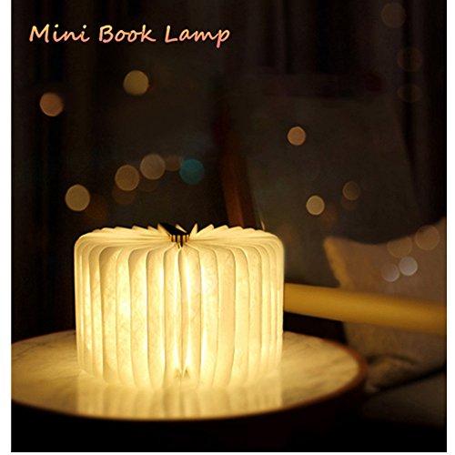 Mini libro lampade USB ricaricabile pieghevole in legno LED luce del libro per arredamento/scrivania/tavolo/parete - batterie al litio 1000mAh