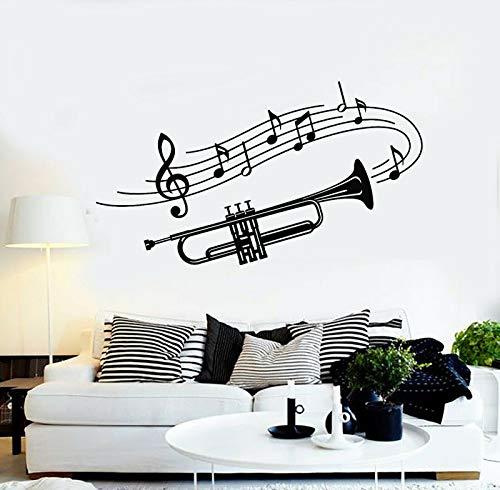 yuandp Personalisierte Name Aufkleber Trompete Musikinstrument Musiknoten Wandtattoo für Home57 * 33 cm