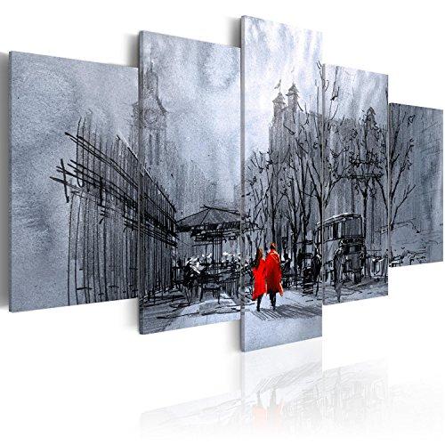 Cuadro en Lienzo 100x50 cm - 3 tres colores a elegir - Impresion en calidad fotografica - Cuadro en lienzo tejido-no tejido - 5 Partes - ciudad Vintage Retro d-B-0049-b-o 100x50 cm B&D XXL