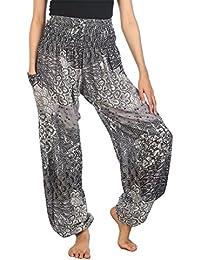 6786afbe26b3 Lofbaz Pantalon Sarouel Femmes Taille Smockée Boho Harem Pants