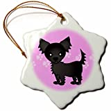 3dRose orn_28468_1 Cute Black Longhaired Chihuahua Pink with Pawprints Porcelain Snowflake Ornament, 3-Inch