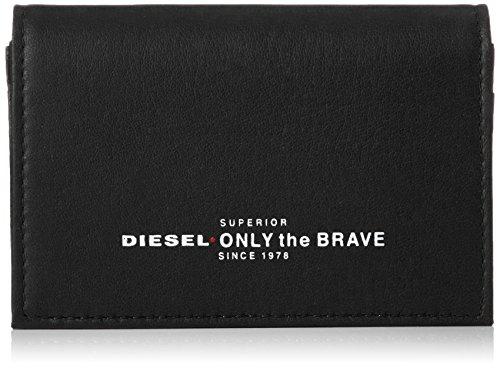 Diesel ready to star - portafoglio da uomo in pelle per carta d'identità, carte di credito, portamonete nero taglia unica