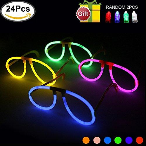 Preisvergleich Produktbild Glowsticks KYC 24erleuchtet Brillen bei Night Glow Sticks Brillen Glow, leuchtend 6Farbe Mix verschiedene Play in Party Supplies Mit einzelnen Paket