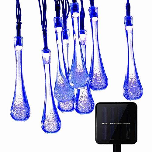 KEEDA Guirlande Lumineuses Solaire D'extérieur, 20LED Goutte d'eau,Lampe Imperméable,Luminaire Extérieur,Décoration D'extérieur(Bleu)